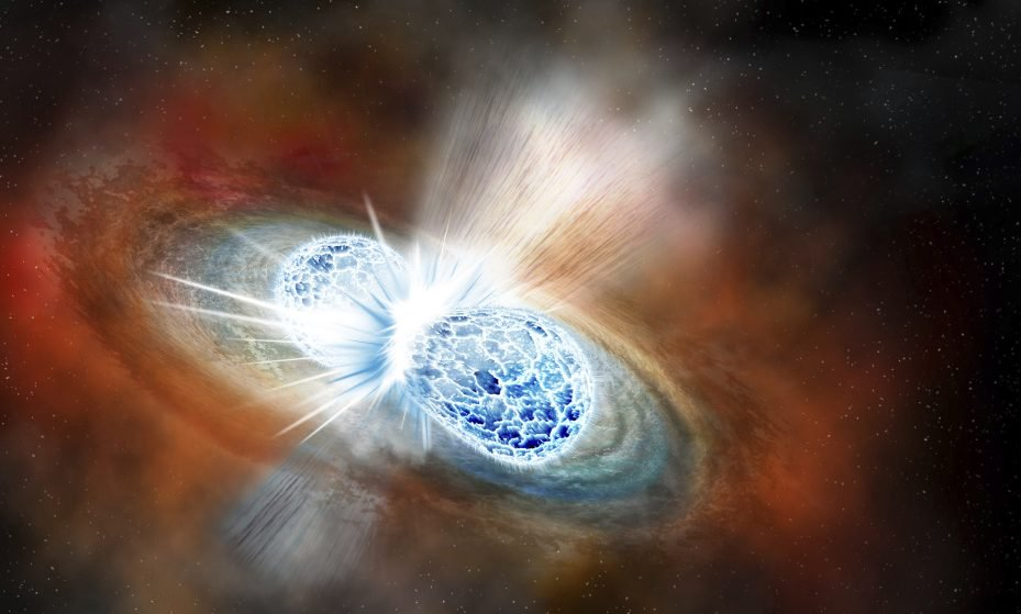 This illustration depicts the collision of two neutron stars detected on Aug. 17, 2017. The explosion threw matter, light, radiation and gravitational waves into space. The discovery was reported Monday.