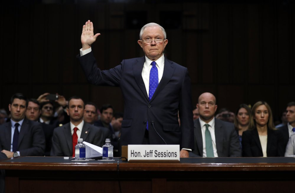 Attorney General Jeff Sessions is sworn in before the Senate Judiciary Committee on  Wednesday.