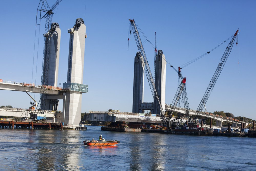 Construction on the Sarah Mildred Long Bridge connecting Kittery to Portsmouth, N.H., is shown in October.