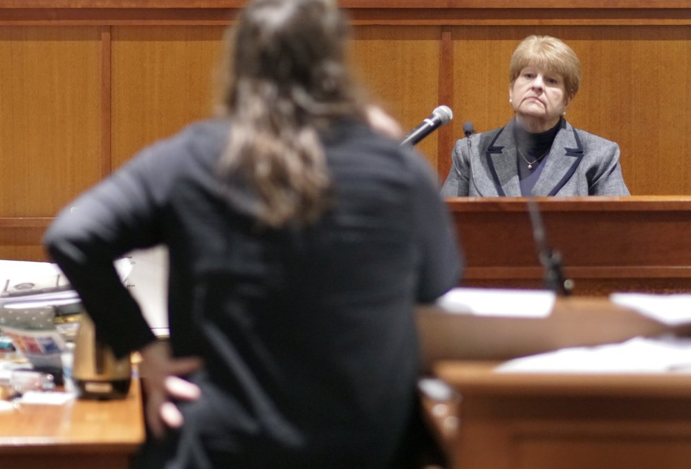 Attorney Amy Fairfield questions former Assistant Attorney General Pamela Ames, the lead prosecutor in Anthony Sanborn's 1992 trial, Friday at the Cumberland County Courthouse.
