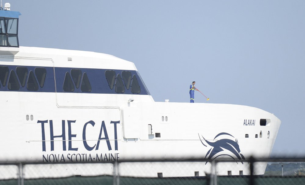 The Cat high-speed ferry docks at Ocean Gateway in Portland in August.
