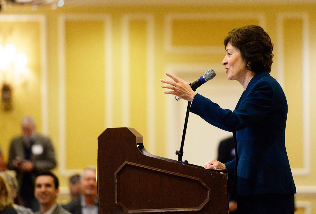 Sen. Susan Collins speaks Friday morning at the Penobscot Bay Regional Chamber of Commerce event where she announced she will not run for governor.