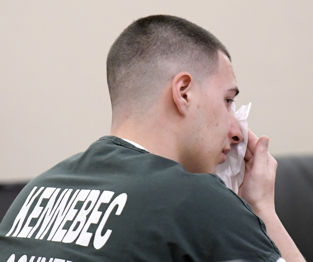 Tylor Reece cried and apologized Monday during his sentencing at the Capital Judicial Center in Augusta for two robberies he pleaded guilty to committing.