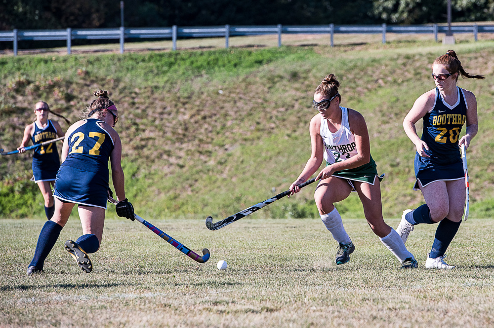 Winthrop's Elle Blanchard and Boothbay Harbor's Hali Goodwin go for the ball  during a Class C North game Monday afternoon in Winthrop.