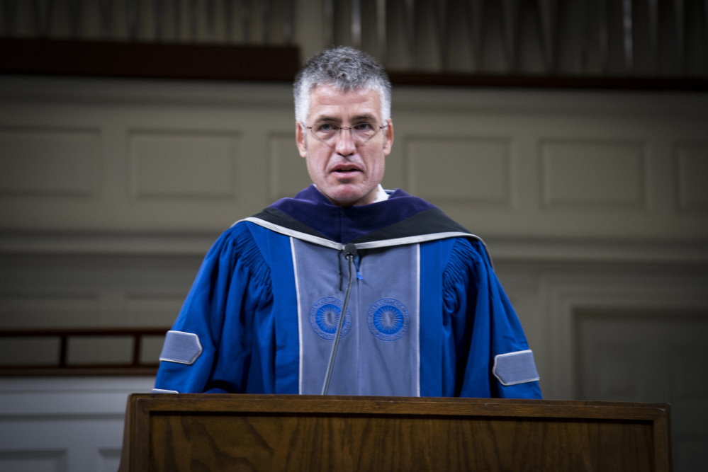 Alec MacGillis, Lovejoy Award Recipient 2017 addresses students and faculty at the 65th Elijah Parish Lovejoy Convocation on the campus of Colby College on Monday evening. MacGillis, a 2008 Pulitzer Prize journalist spoke about the current state of journalism and politics.