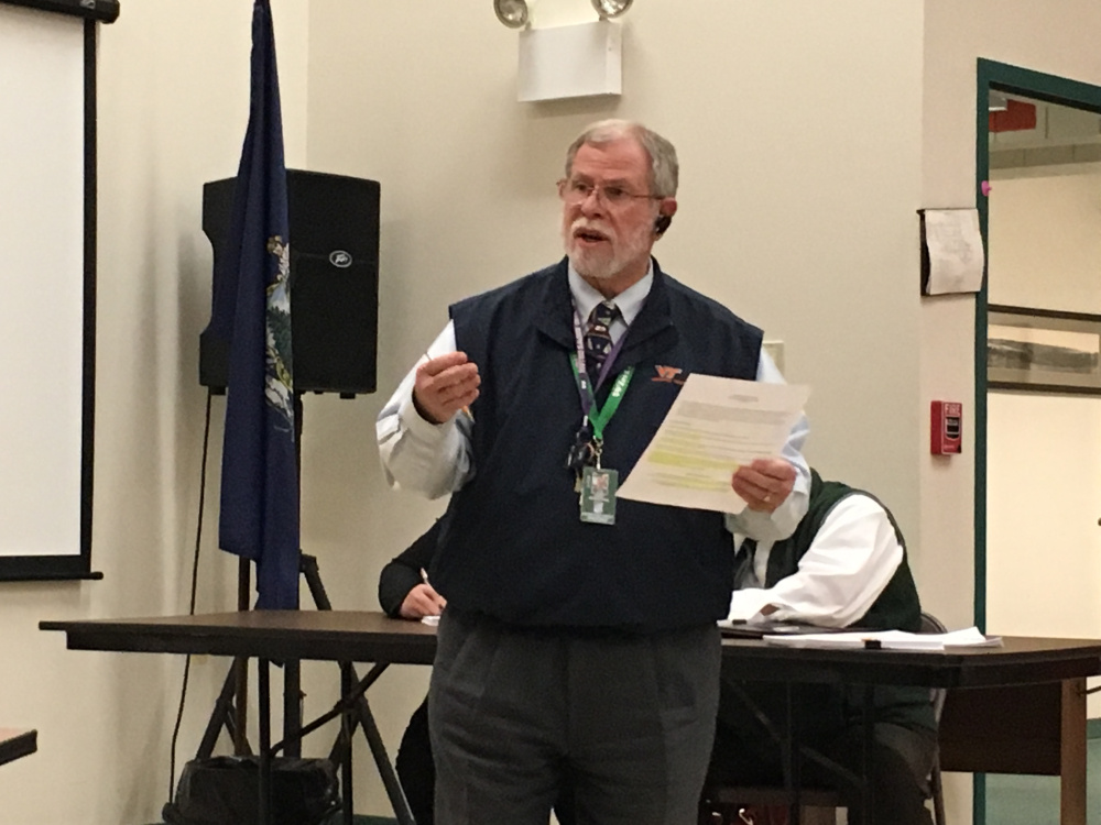 Winthrop Superintendent Gary Rosenthal presents his proposed budget to the Winthrop Town Council in  May.