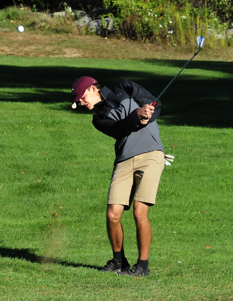 Nokomis senior Josh Smestad practices at Palmyra Golf Course last Thursday.