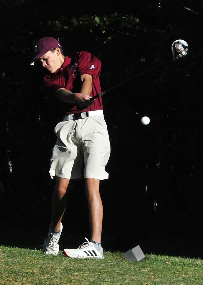 Nokomis junior Sam Smestad hits a shot during a practice last Thursday at Palmyra Golf Course.