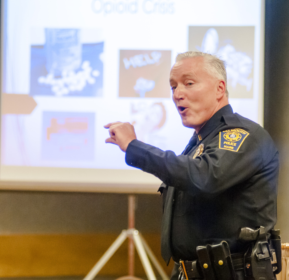 Falmouth police Lt. John Kilbride speaks during a Maine Municipal Association convention panel discussion on opioids Wednesday at the Augusta Civic Center.