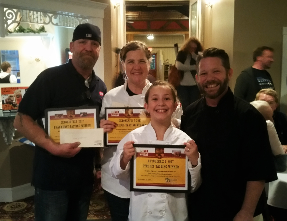 The winners of the annual Rangeley Oktoberfest Brat & Strudel Contest, in back, from left, are Buzzy Jensen, Ana Wetherill, Michael Flewelling; in front is Averie Flewelling.