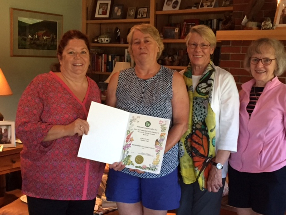 The Bloomfield Garden Club was presented the National Garden Club President's Special Projects Award for its Service in the Action-BeeGAP Project. From left are Pam Partridge, Debra Burnham, Kathleen Marty, state awards chairwoman of the Garden Club Federation of Maine, and Jeanne Shay.