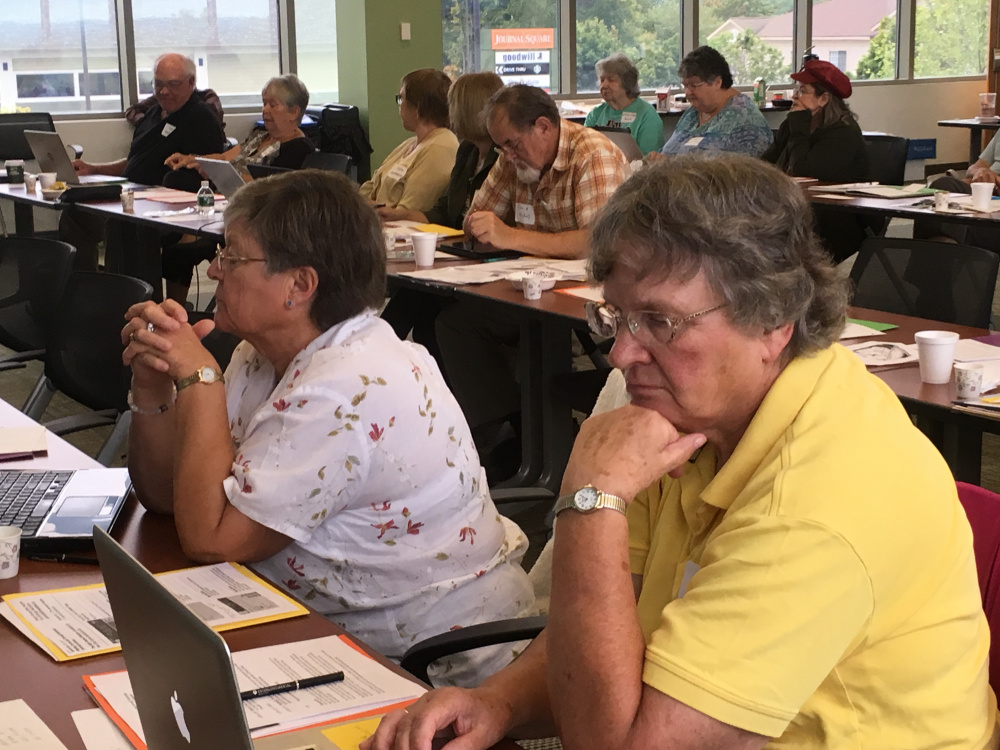 Marilyn Hylan, left, and Arline Amos from Franklin County Retired Educators Association were among the attendees at the recent communications workshop.