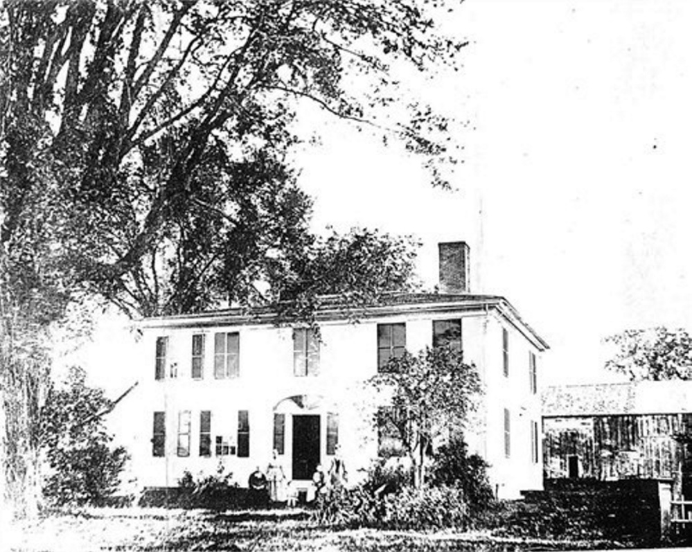 The Dr. Samuel Currier home at Readfield Corner, and some of his family members during the Civil War era. The Currier family owned this house from 1800 until 1945 when it was donated to the town of Readfield. Today it houses the Readfield Community Library.