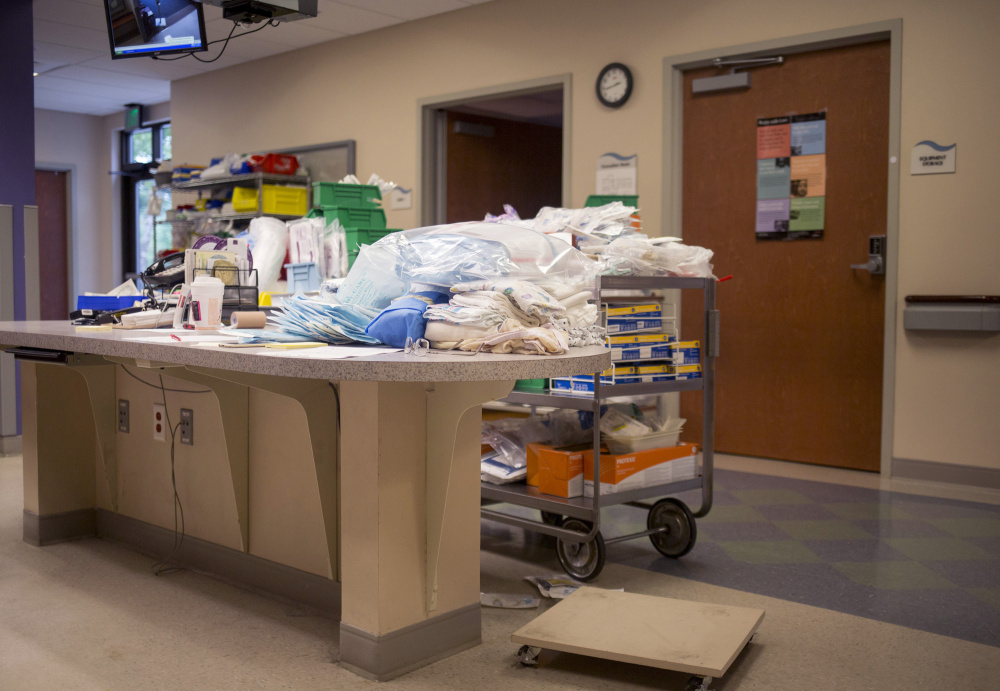 CALAIS, ME - AUGUST 31: Supplies that are being sorted through by staff members to prepare emergency delivery carts for the Calais Regional Hospital ER. The ER staff are being sent through trainings to be prepared for women who may have to deliver in the ER in the wake of the obstetrics unit closure (Staff photo by Brianna Soukup/Staff Photographer)