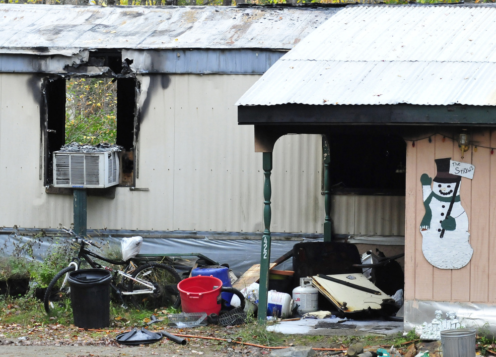 This mobile home at 422 Lucy Knowles Road in Farmington was destroyed by fire Saturday.