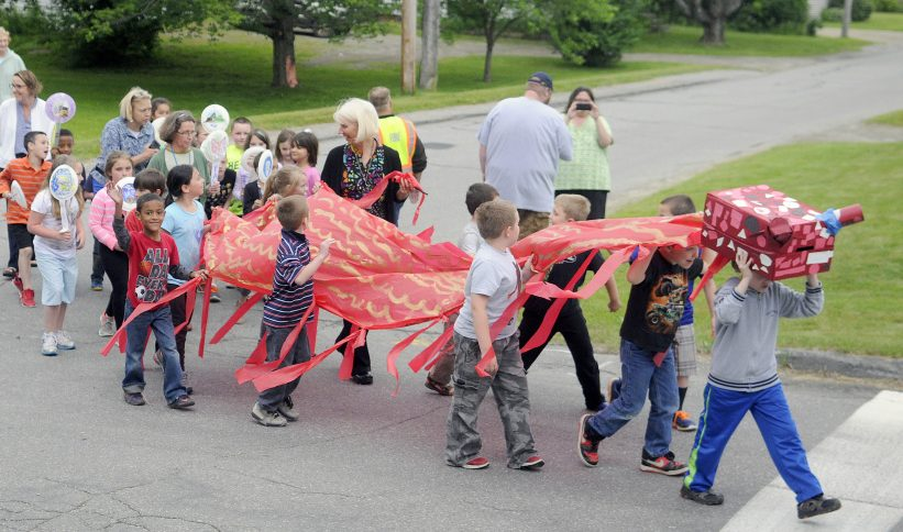 Teresa C. Hamlin School students parade through Randolph on June 13, 2016, after they read almost 1,500 books. The district superintendent has formed a committee to study the future of the school now that enrollment has dropped to 44 students.