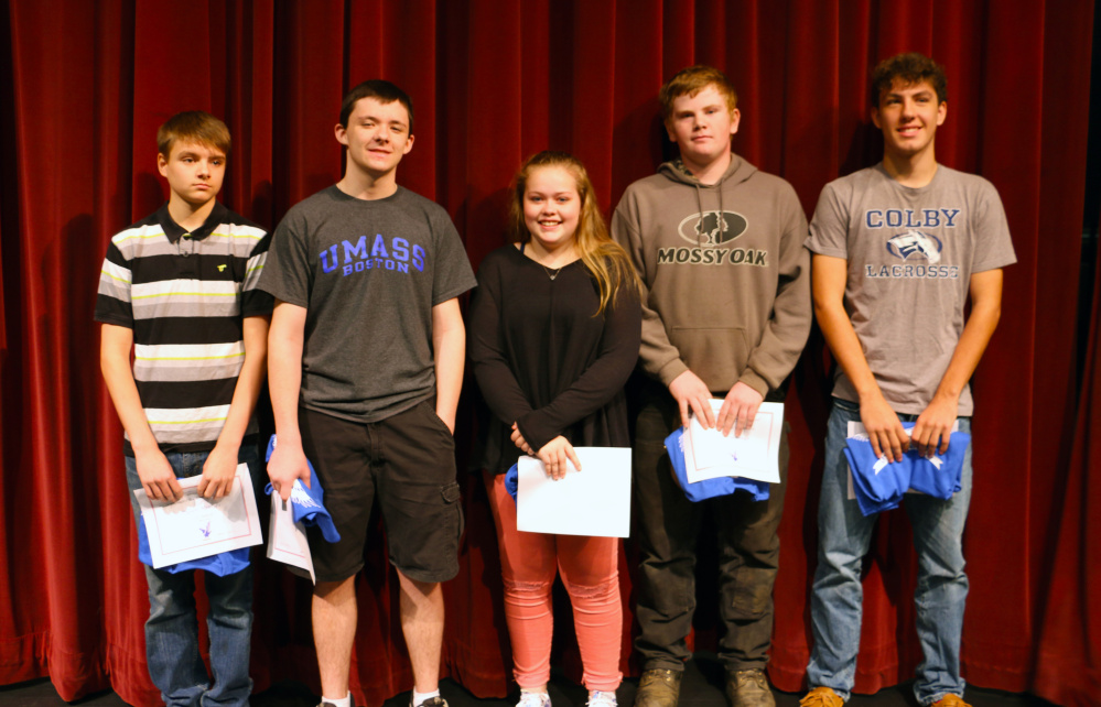 Messalonskee High School Students of the Month, from left, are Dylan Mercier, Derrick Butler, Emma Ketch, Noah Cummings and Wade Carter.