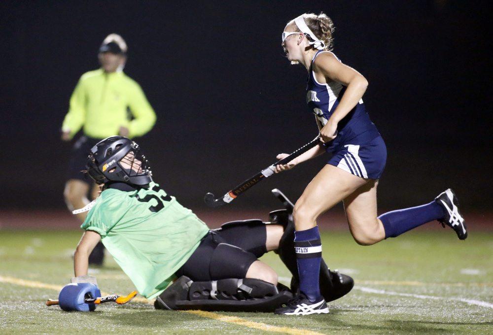 Westbrook captain Avery Tucker scores the first goal of the Class A South finals against Biddeford on Tuesday.