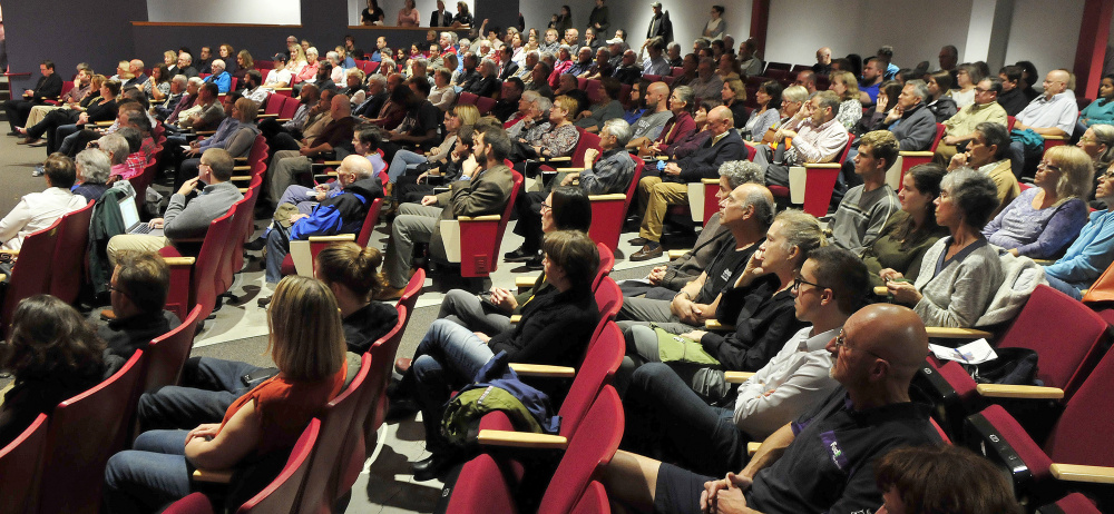 The Ayotte Auditorium at Thomas College in Waterville was packed Tuesday night for a debate among mayoral candidates Nick Isgro, John Levesque and Erik Thomas.