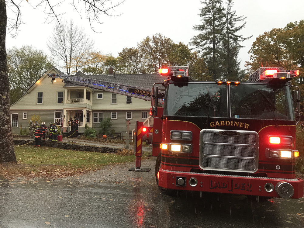 A bedroom and the attic of this home at 182 Dresden Ave. in Gardiner were damaged Wednesday in an early morning fire.