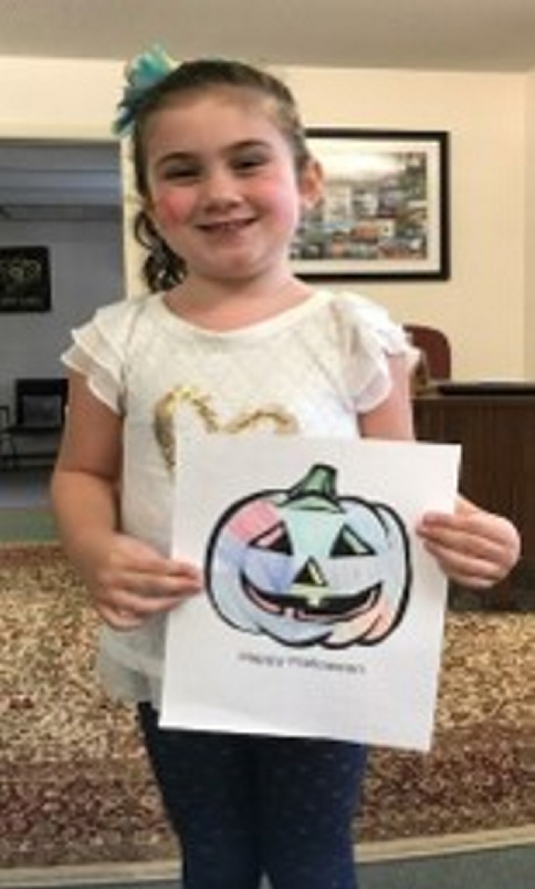 Lean Monaghan, of Del Haven, New Jersey, won the Harvest Festival coloring contest for children ages 5 and younger.