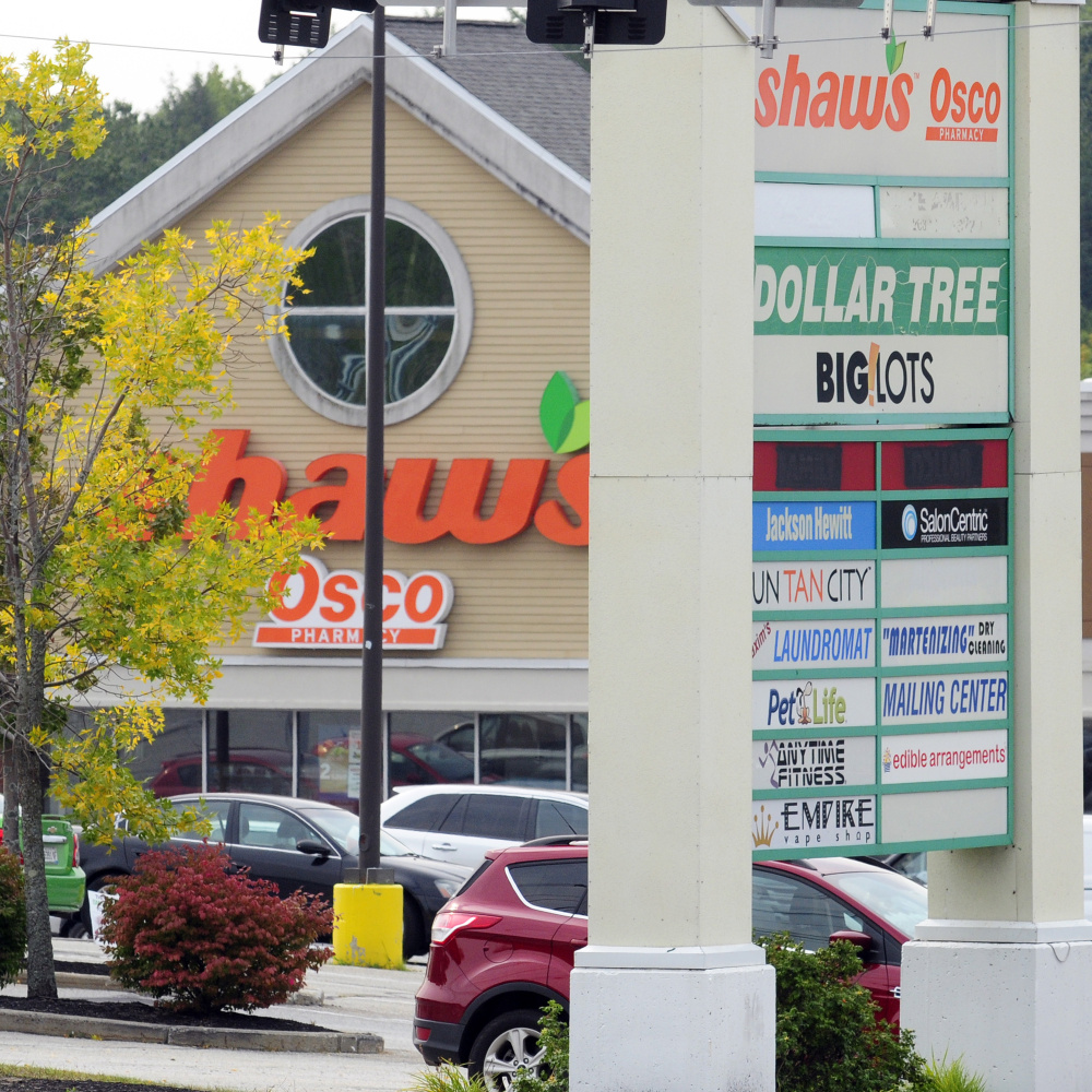 Shaw's Plaza on Western Avenue in Augusta, shown in this September photo, was sold for $15 million at auction Wednesday to Florida-based LNR Partners.