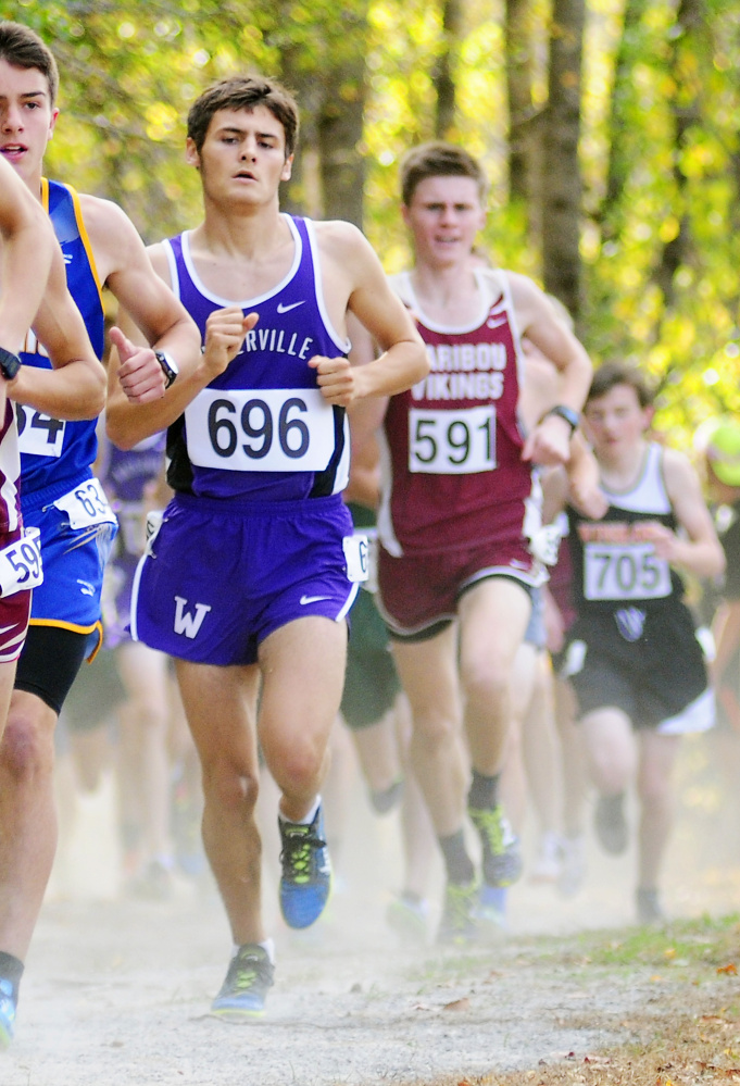 Waterville's Nick Dall on his way to winning the Class B North cross country championships last weekend in Belfast. Dall is competing Saturday for a Class B title at Twin Brooks in Cumberland.