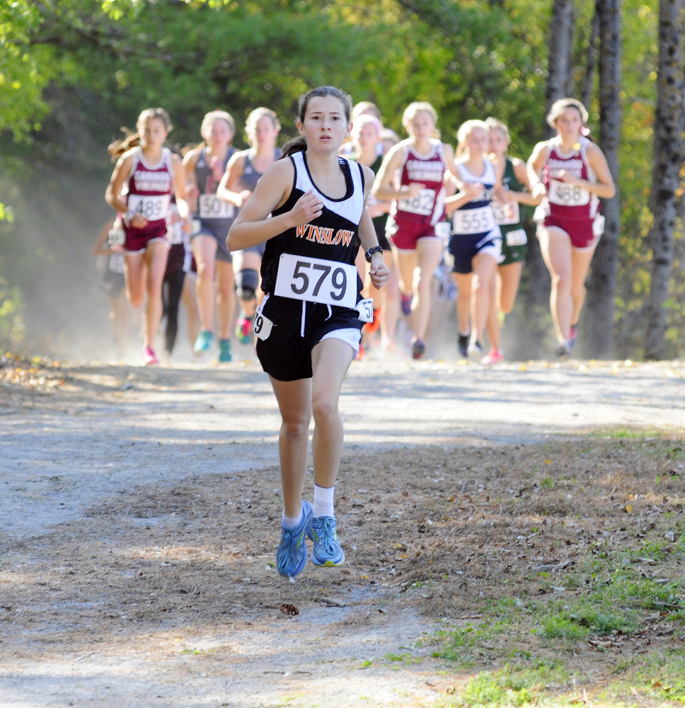 Winslow freshman Olivia TIner led the race from start to finish at the Class B North cross country championships last week in Belfast. She's among the favorites to capture a Class B title Saturday at Twin Brooks in Cumberland.