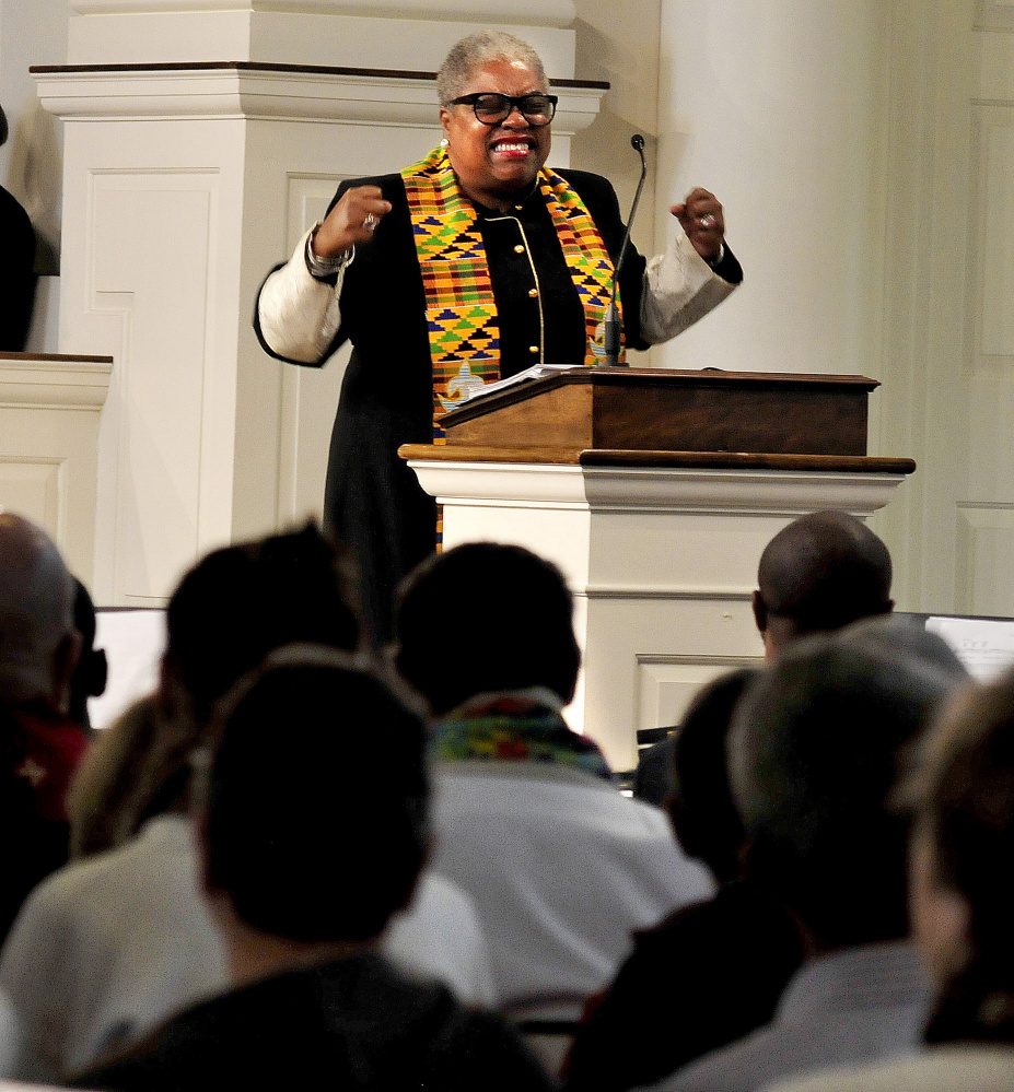 The Rev. Cheryl Townsend Gilkes gave a spirited talk during an Ecumenical Gospel Celebration of the 500th anniversary of the Reformation in the packed Lorimer Chapel at Colby College in Waterville on Sunday.