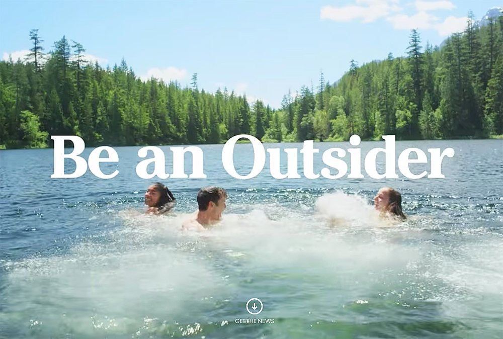 "An screen image from L.L. Bean's ""Be an Outsider"" advertising campaign."