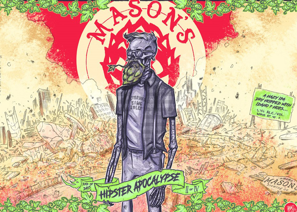 Mason's Brewing displays the label for Hipster Apocalypse on its  website.