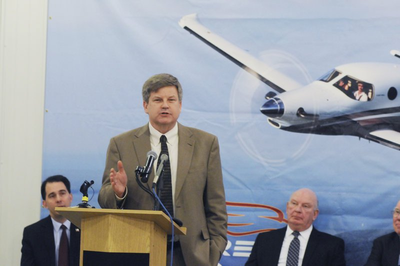 Alan Klapmeier CEO of Kestrel Aircraft Co., holds a news conference at the Superior, Wis., airport in May 2014 to announce that Kestrel is coming to Superior and bringing 600 jobs. Today, no manufacturing plant has been built, there are no aircraft manufacturing jobs in Superior, and Kestrel hasn't made a loan payment to the state in 11 months.