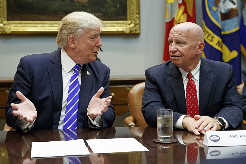Chairman of the House Ways and Means Committee Rep. Kevin Brady, R-Texas, meets with  President Trump at the  White House on Sept. 26, 2017.