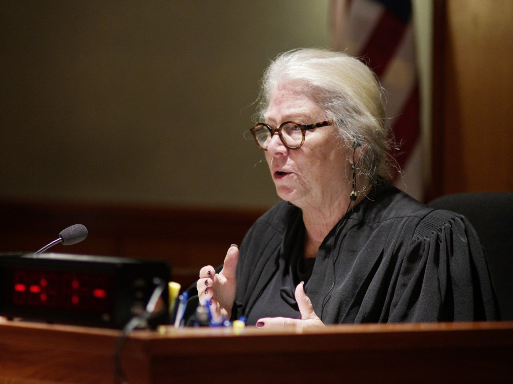 Justice Joyce Wheeler presides over Anthony H. Sanborn Jr.'s post-conviction review.