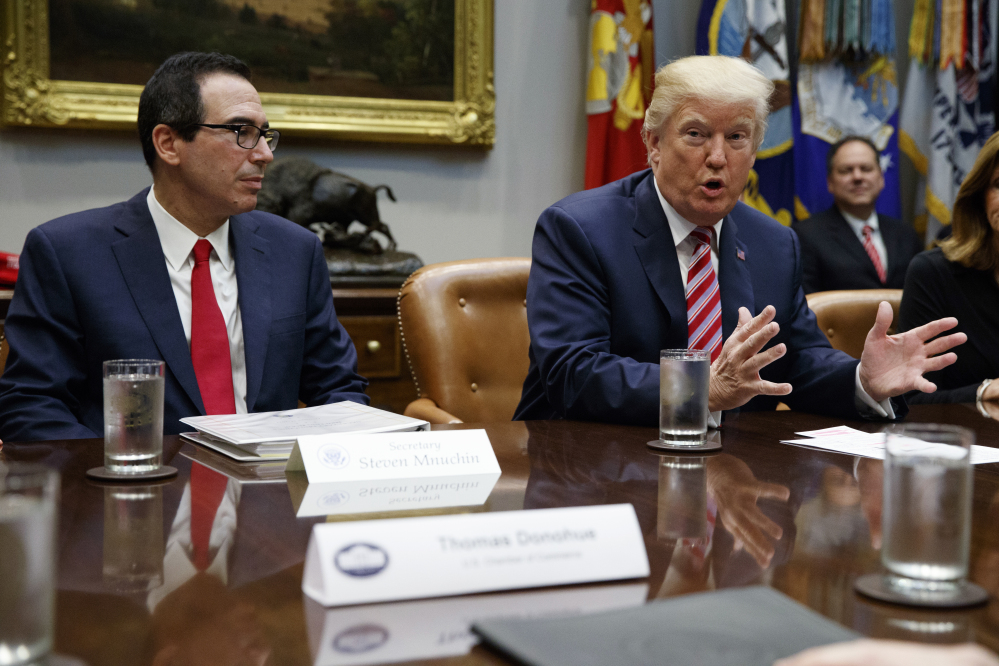 Treasury Secretary Steve Mnuchin and President Donald Trump at a meeting on tax policy with business leaders in the White House on Tuesday.