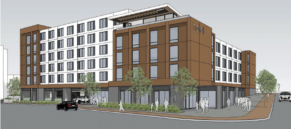 A six-story hotel at 203 Fore St. in Portland would have a garage and outdoor parking for 120 vehicles. An application was filed with the city on Oct. 11.
