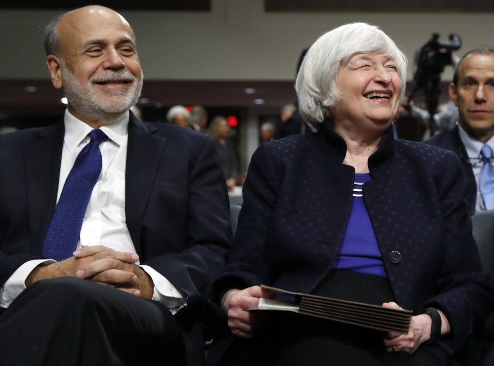 Former Federal Reserve Chairman Ben Bernanke and Federal Reserve Chair Janet Yellen attend a ceremony Tuesday in Washington, where they received the Paul H. Douglas Award for Ethics in Government.
