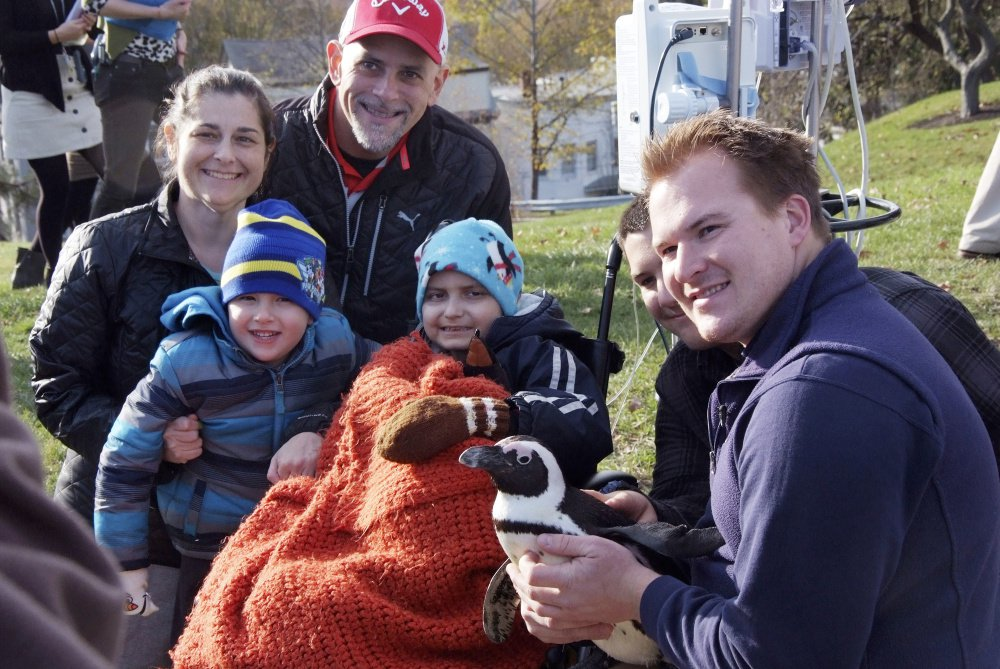Josh Davis, right, a senior penguin trainer with Mystic Aquarium in Mystic, Connecticut, shows one of two African penguins to Jacob Thompson, 9, center, at Maine Medical Center in Portland on Thursday. Jacob has received goodwill cards and wishes from far and wide. And now he has had a visit from his favorite animal. With Jacob are his mother, Michelle Thompson Simard, and other family members.