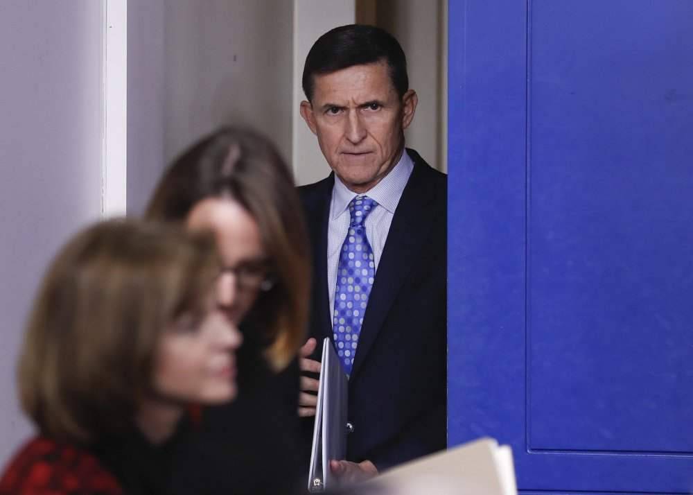 Ex-National Security Adviser Michael Flynn arrives for the daily news briefing at the White House in February before he was dismissed by President Trump.