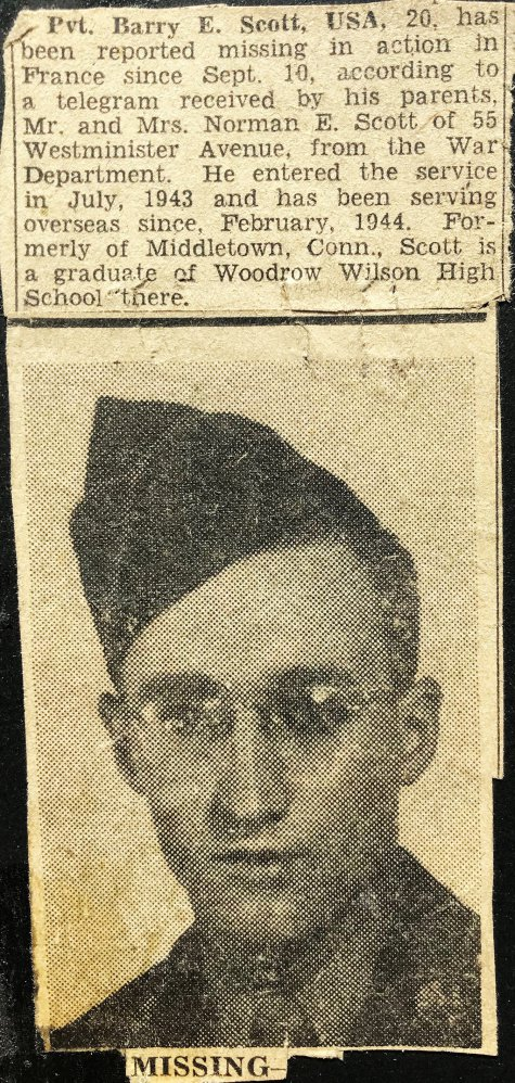 Army veteran Barry Scott was listed as missing in this newspaper clipping. In reality, he had been captured and was a prisoner of war.