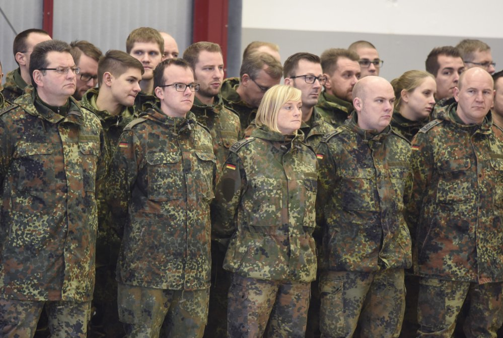 German troops turn out for roll call at Bundeswehr airbase in Jagel, northern Germany. At least 18 countries, including Germany, allow transgender personnel to serve openly.