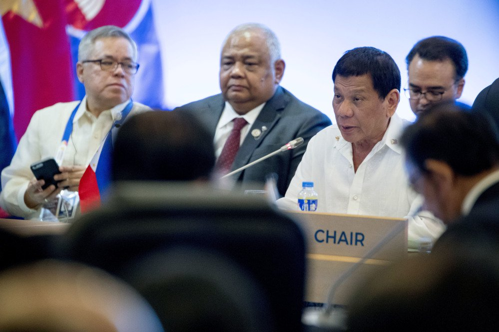 "When Philippine President Rodrigo Duterte, third from left, met with Trump, ""There was no mention of human rights,"" says his spokesman. The White House says there was."