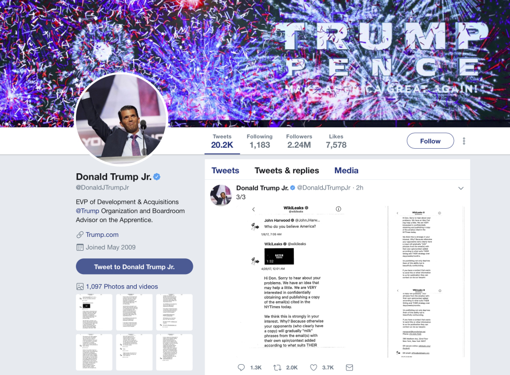 Donald Trump Jr.'s Twitter account shows a series of direct messages he received from the Twitter account behind the WikiLeaks website, including his responses to the communications, which he posted on Monday, Nov. 13. The direct messages had been turned over to congressional committees investigating Russian intervention in the 2016 election and if there were any links to Trump's campaign. Trump Jr.'s release of the messages on Twitter came hours after The Atlantic first reported them.