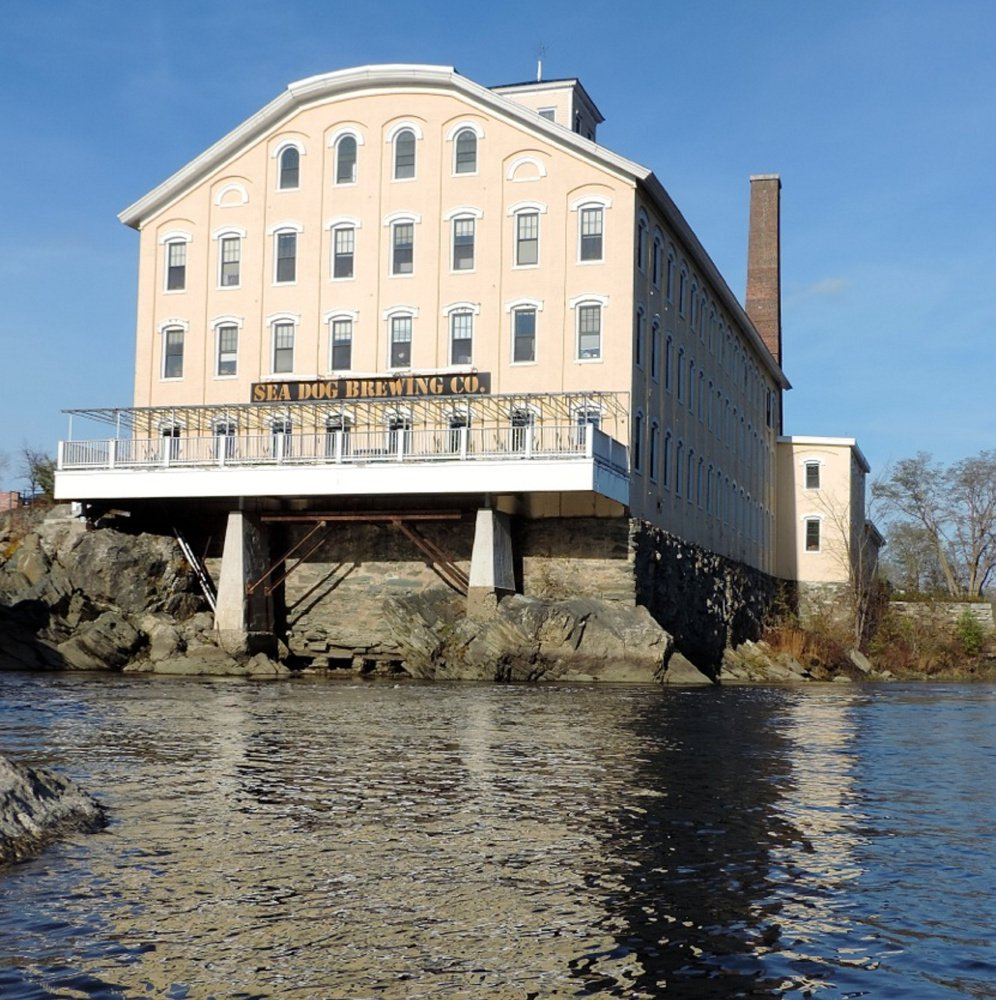The Pejepscot paper mill was built in 1868 and now houses the Sea Dog Brewery. It is the oldest paper mill structure still standing in Maine.