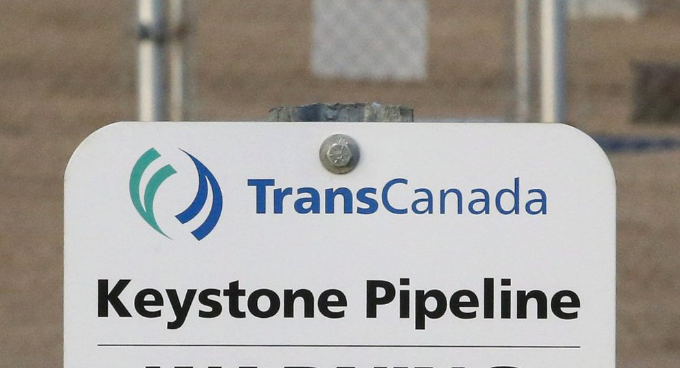 A sign for TransCanada's Keystone pipeline facilities stands in Hardisty, Alberta, Canada.