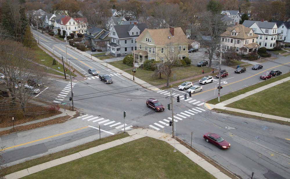 The University of Southern Maine will cede land at this intersection near the law school building, as part of a roundabout project. Construction will cost about $3 million and be primarily financed through federal highway funding.