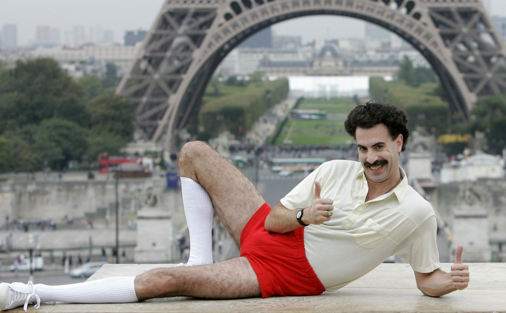 British actor Sacha Baron Cohen, dressed as his character