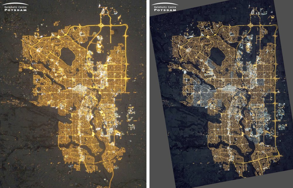 NASA images of Calgary, Alberta, Canada, taken from the International Space Station on Dec. 23, 2010, left, in residential areas, and on Nov. 27, 2015,