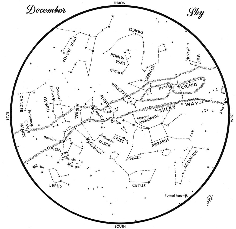 SKY GUIDE: This chart represents the sky as it appears over Maine during December. The stars are shown as they appear at 9:30 p.m. early in the month, at 8:30 p.m. at midmonth and at 7:30 p.m. at month's end. No planets are visible at chart times. To use the map, hold it vertically and turn it so that the direction you are facing is at the bottom.