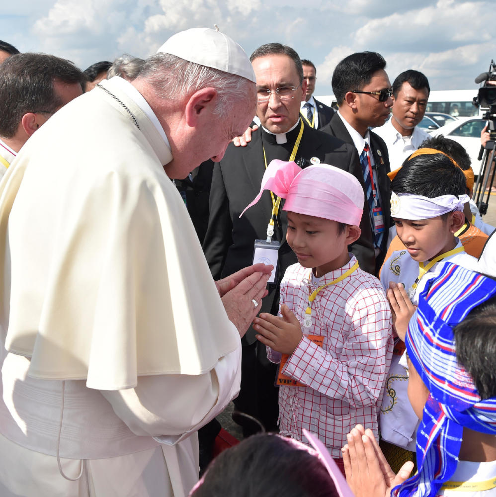 Pope Francis arrives Monday in Yangon, Myanmar, as he starts a weeklong visit that will also take him to Bangladesh, a refuge for fleeing Muslim Rohingyas.